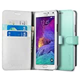 Spigen Wallet S Galaxy Note 4 Case with Kickstand Feature Card Holder Wallet Case for Samsung Galaxy Note 4 2014 - Mint
