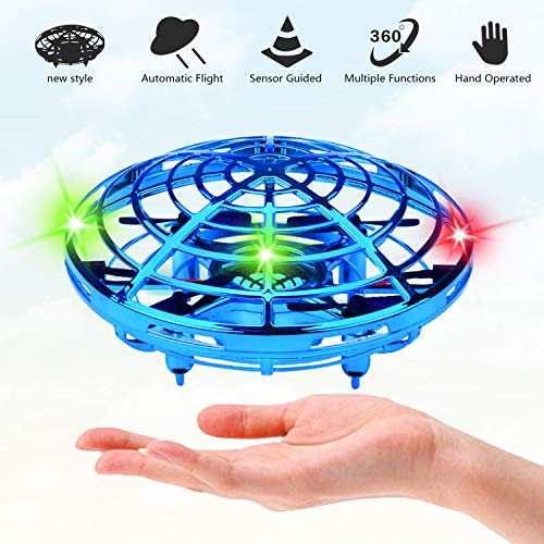 UFO Flying Ball Toys for Kids and Adults, Rechargeable Mini Quadcopter with 360° Rotating and Shinning LED Indicator Infrared Induction Hand-Controlled Drones Gravity Defying helicopter Gift (blue)