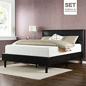 Zinus Memory Foam 12 Inch Mattress and Deluxe Faux Leather Platform Bed Set, Queen