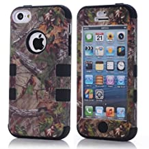 HELPYOU Black iPhone 5C New Fashion 3in1 Hybrid Camo Tree Print Dirtproof Defender Case With Rubber Silicone Case for Apple Iphone 5C