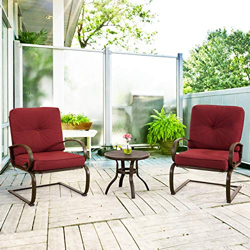 Homevibes 3 Pieces Bistro Set Outdoor Patio Porch Furniture Set Wrought Iron Backyard Garden Set Coffee Table Chair Cafe Seat with Cushions, Brick Red