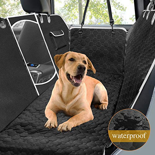 Mancro Car Seat Covers for Dogs,100% Waterproof Backseat Cover for Dogs with Mesh Window Side Flaps, Convertible Scratch Proof Pet Seat Cover Hammock, Durable Soft Seat Protector for Cars Trucks SUVs