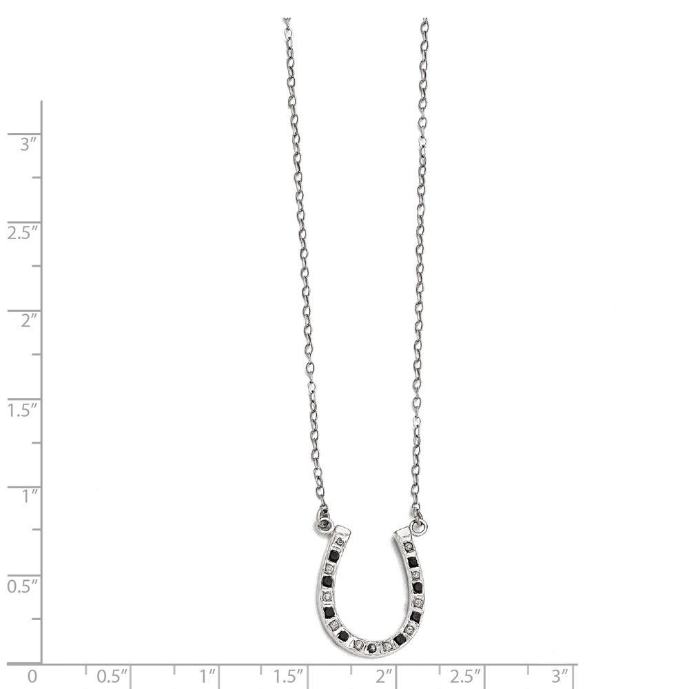 Diamond Fascination Sterling Silver Diamond Mystique Black and White Horseshoe Charm Pendant with 18 Necklace