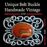 Vintage Sterling Silver 925 Agate Botswana Belt Buckle Unique Handmade Vintage Design By Dr. Gavrielov An Amazing Gift