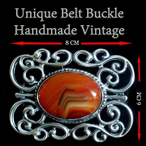 Vintage Sterling Silver 925 Agate Botswana Belt Buckle Unique Handmade Vintage Design By Dr. Gavrielov An Amazing Gift by Dr. Gavrielov