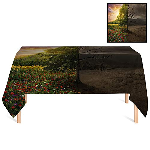 SATVSHOP Rectangle Tablecloths /60x104 Rectangular,Nature Mother Earth Contrast with Life and Death Theme Light Dark Forest Fresh Dry Design ES for Wedding/Banquet/Restaurant. (Batman A Death In The Family Value)
