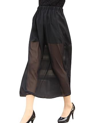 0035a9b5a666 Damen Chiffon Mesh Transparent Midi Röcke Stretch Taille Einfarbig ...