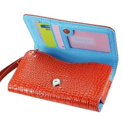 High Quality Leather Wallet Flip Carrying Case Pouch for Samsung ATIV SE - with Card Holder and Removable Strap - Crocodile Pattern - Magnetic Clasp for Easy Phone Access - (Orange Plus Interior Blue) + Mini Touch Screen Stylus (Orange Case Se Samsung Ativ)