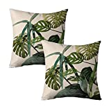 Set of 2 Tropical Leaves Decorative Pillow Case Home Decor Canvas Accent Pillow Covers 18 x 18 Inch Square Sofa Pillow Sham