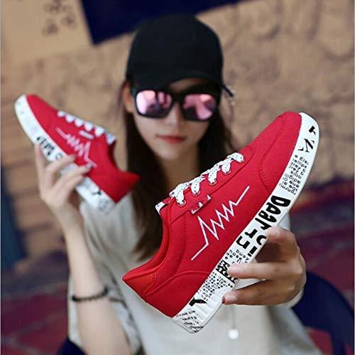 Cordones Transpirable 37 Zapatillas Nuevo Casual Con 2019 Negras Mujer Caminar De Zapatos Mujeres Lona Primavera Para Plano Yopew Deporte Graffiti gwx7w