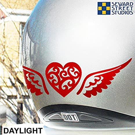 Amazoncom Reflective Decals Heart And Wings Set Winged Heart - Motorcycle helmet decals graphicsappliedgraphics high visibility reflective motorcycle decals