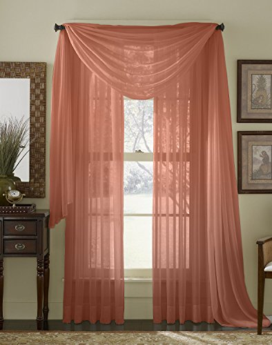 HLC.ME Rust Sheer Voile Window Curtain Scarf - Valance - Ful