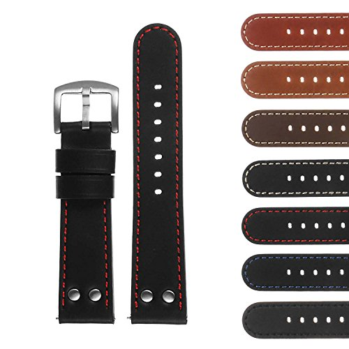 DASSARI Pilot Quick Release Leather Watch Band Strap w/Rivets 18mm 20mm 22mm 24mm