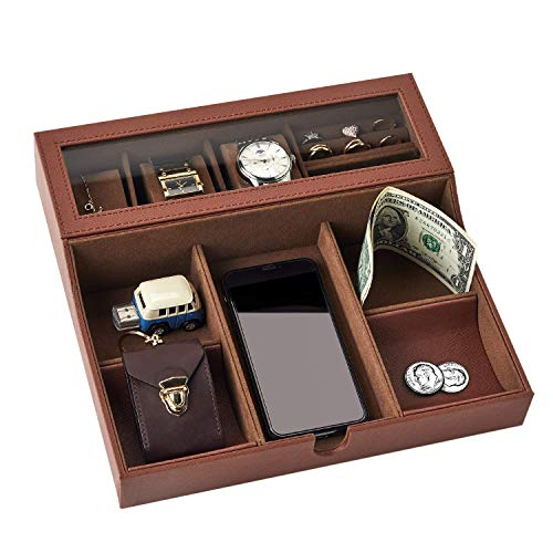 NEATOPA Valet Tray - Men Jewelry, Keys, Watch Nightstand Organizer for Perfect Life On Table Valet Box Made of Black PU Leather, Velvet with Charging Station (Brown)
