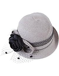 Women Summer Beach Cap Straw Bowler Hat Sun Protection Cloche Bucket Hat
