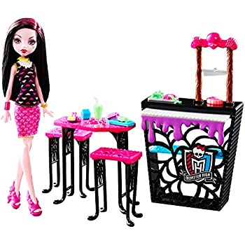 Monster High Beast Bites Cafe Draculaura Doll u0026 Playset  sc 1 st  Amazon.com : monster high table and chairs - Cheerinfomania.Com