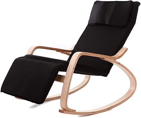 chaise bercante en cuir noir