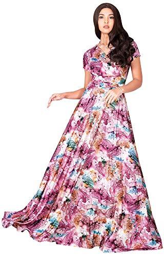 KOH KOH Petite Womens Long Flowy Short Cap Sleeve Floor Length Modest Elegant V-Neck Floral Print Casual Spring Summer Sundress Sun Gown Gowns Maxi Dress Dresses, Pink & White XS 2-4