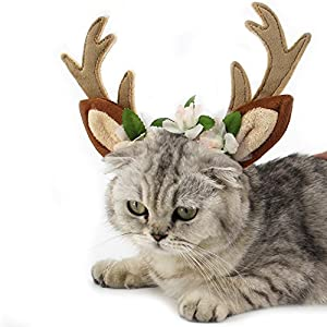 Dog Elk Antler Reindeer Hat Cap Dog Cat Pet Christmas Costume Outfits Small Big Dog Hat Headwear Hair Grooming Accessories (S(for cat and small dog), Brown)