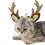 FLAdorepet Dog Elk Antler Reindeer Hat Cap Dog Cat Pet Christmas Costume Outfits Small Big Dog Hat Headwear Hair Grooming Accessories (S(for cat and Small Dog), Brown) Larger Image