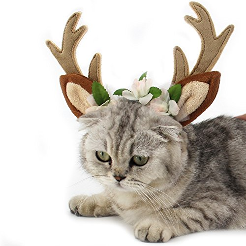 Dog Elk Antler Reindeer Hat Cap Dog Cat