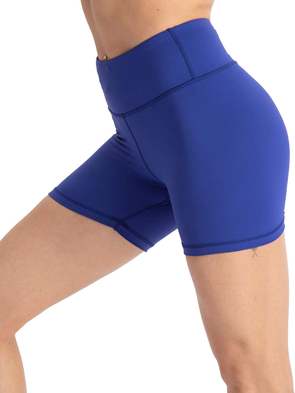 Enge Innentasche Yoga-Shorts Workout-Shorts Hopgo Damen Trainingshose 10,2 cm Bauchkontrolle hohe Taille