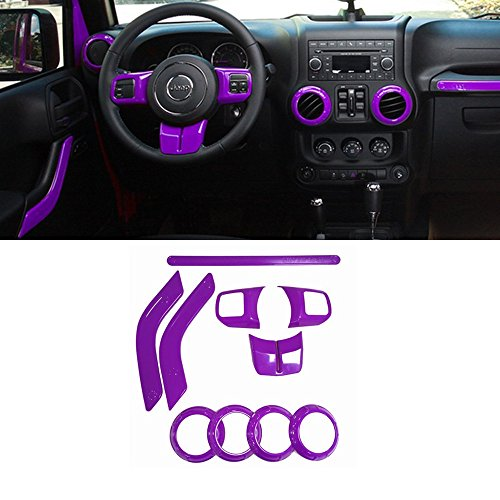 Opall Full Set Interior Decoration Trim Kit Steering Wheel Trim, Centrer Console Air Outlet Trim, Door Handle Cover Inner, Passenger Seat Handle Trim For Jeep Wrangler 2011-2016 2-door 10 Pcs (Purple)