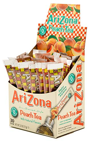 AriZona Peach Iced Tea Iced Tea Stix Sugar Free, 30 Count Box (Pack of 4), Low Calorie Single Serving Drink Powder Packets, Just Add Water for a Deliciously Refreshing Iced Tea Beverage