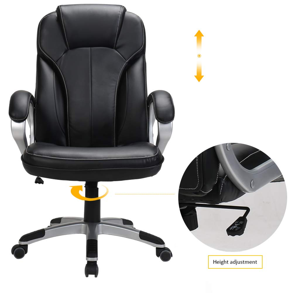LasVillas Ergonomic PU Leather High Back Executive Office Chair with Adjustable Height, Computer Chair Desk Chair Task Chair Swivel Chair Guest Chair Reception Chairs ... (Black) by LasVillas (Image #6)