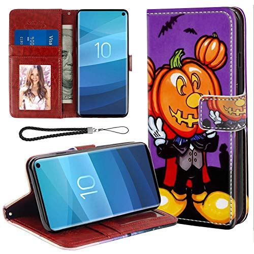 DISNEY COLLECTION Wallet Cover Case Fits for Galaxy S10+ [6.4-Inch] Free Mickey Mouse Halloween Screensaver ID Card Clip]()