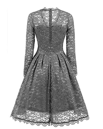 2017 Lace Prom Floral Retro Swing Formal Dress Party Adodress Sleeve Women's Short Dresses Gray Cap Vintage Cocktail Dresses x1REwnAW