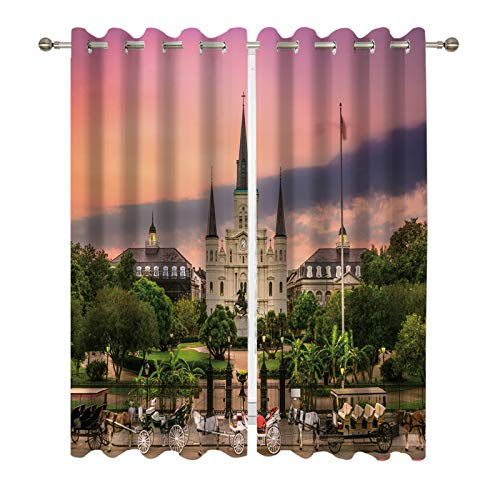 DUISE Grommet Blackout Curtains, Saint Louis Cathedral and Jackson Square at Sunset, for Living Room Dining Room Bedroom Light Blocking Curtains, Window Drapes 2 Panels Set, 108W X 84L Inches ()