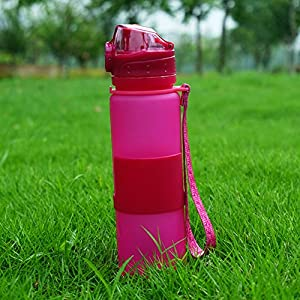 Zhenxinmei Foldable Sports Water Bottle Portable Food Grade Silicone Water Cup Non-Toxic Eco-Friendly Cups Anti-Leakage Healthy BPA Free Creative Outdoor Travel Drinking Bottles (Rose Red 650ML)
