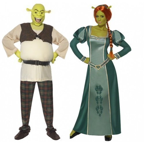 Ladies Mens Disney Shrek AND Fiona Couples Combo Halloween Fancy Dress Costumes Outfits (Ladies 12-14 & Mens Medium) by Fancy (Male Halloween Outfits)