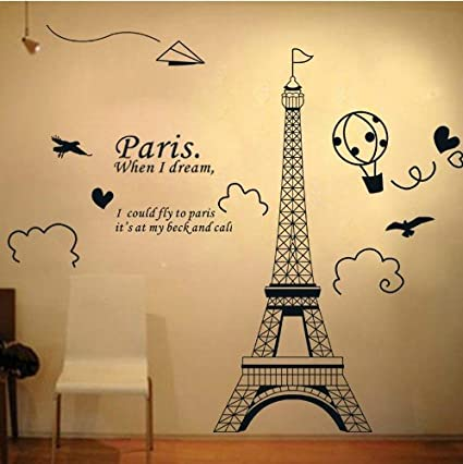 Amazon.com: Home Decor Art Large Removable Wall Decals Paris Eiffel ...
