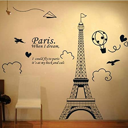 cbe089f7405 Home Decor Art Large Removable Wall Decals Paris Eiffel Tower Wall Stickers   04  Amazon.co.uk  Kitchen   Home