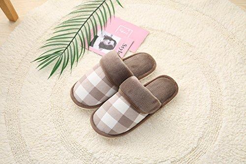 Y-Hui zapatillas de algodón, fresco invierno zapatillas Plaid, hogar cálido zapatillas,44/45,pasta de judías rojas
