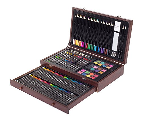 ZagGit 143 Piece Deluxe Art Creativity Set in Wooden Case (Kids Pastel Wooden)