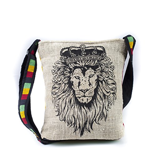 (Rasta Reggae Hemp Cotton Blend JAH Lion Messenger Sling Bag hippie crossbody bags)