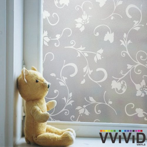 Opaque White Floral Pattern Privacy Window Vinyl Film Decorative Decal for Bathroom, Kitchen, Home, Office DIY Easy to Install Mess-Free Adhesive (48