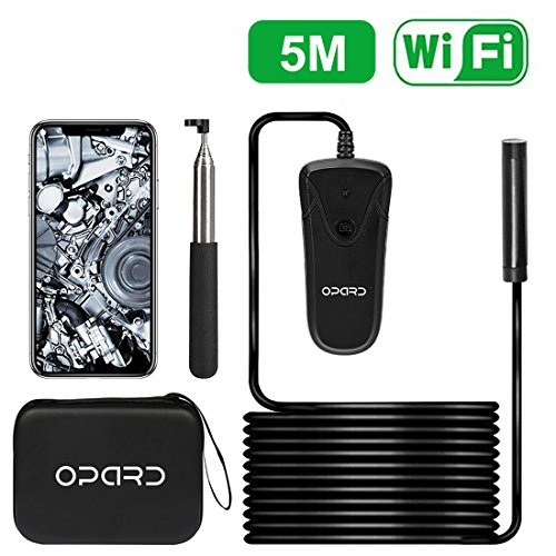 Opard 1200P HD Wireless Endoscope WiFi Borescope 8mm Inspection Camera IP68 Waterproof 8 LED Snake Camera for Apple iOS Android iPhone Mac Windows (16.5ft/5M No Network Required)