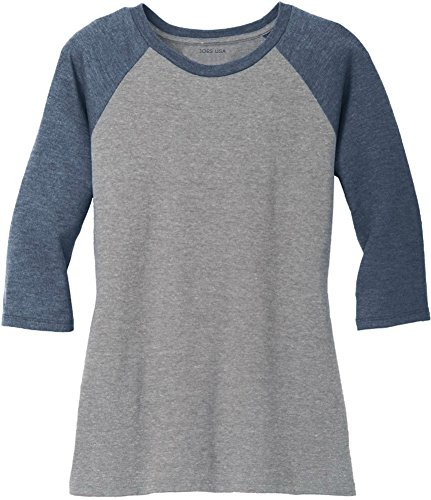 (Joe's USA Ladies 3/4 Raglan Baseball T-Shirt-Navy/Grey-XL)