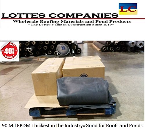 10' x 20' 90 Mil Black EPDM Universal Rubber Liner for Roofs and Ponds by The Lottes Companies