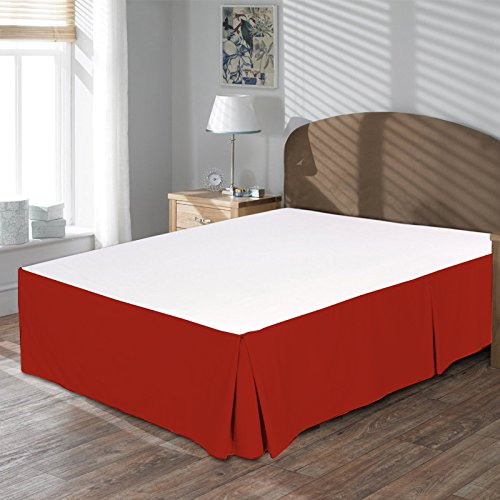 BudgetLinen (1 Box Pleated Bed Skirt Only,Blood Red, King, Drop Length 21 inches 100% Egyptian Cotton Luxurious 400 Thread Count