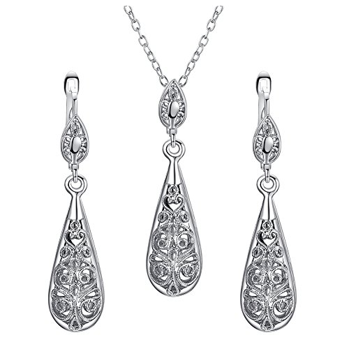 [Vintage Jewelry] Yoursfs Teardrop Jewelry Sets 18K White Gold Plated Classy Jewelry for Women Gift Silvery Delicate Pendant & Leverback Earrings - Set Earrings Mom