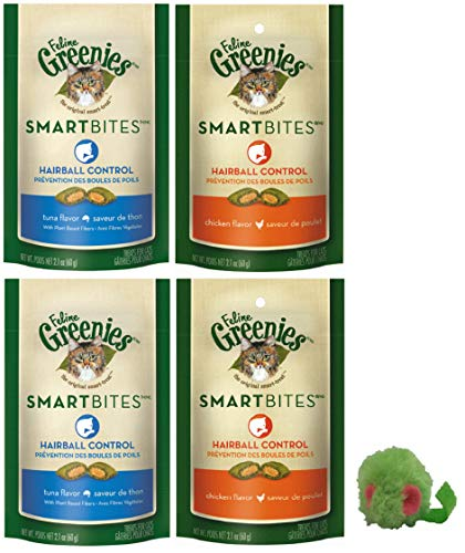 - SmartBites Treats for Cats Hairball Control Bundle (4 Pack), 2 Each of Chicken, and Tuna, Plus Grassland Pets Micro Mouse!