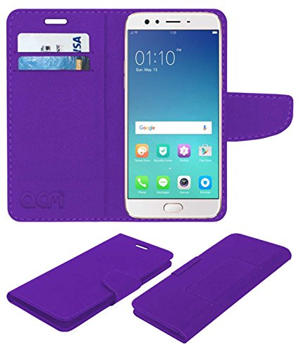 acm mobile leather Flip Cover flap wallet case compatible with oppo f3 plus mobile cover purple