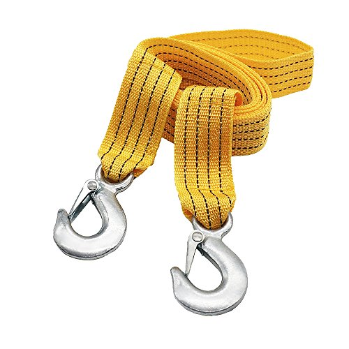 LOCEN Recovery 3 Tons 3 Meters Towing Rope with 2 Safety Hooks for Cars