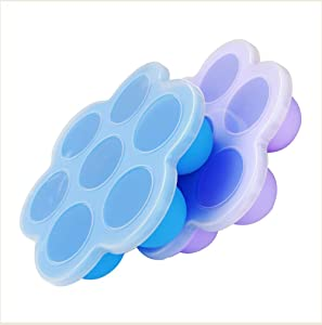 Bonfook Silicone Egg Bites Molds For Instant Pot Accessories (2 Packs) - Fits 5,6,8qt Pressure Cooker,7Cups Reusable Baby Food Storage Container With Lids,Freezer Molds Ice Trays(Blue+Purple)