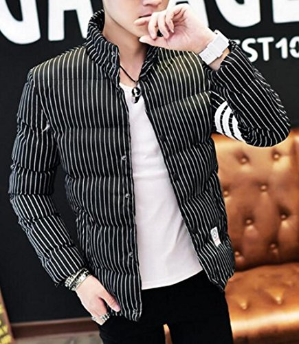 Jacket today Fit Coat Stripe Winter 2 Warm Slim Men's UK Print Down z4Xwrzq
